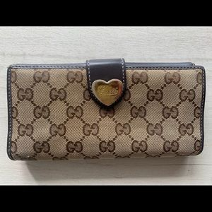 Gucci canvas wallet women's brown leather